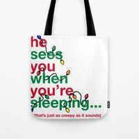 creepy Tote Bags featuring Creepy by fishbiscuit