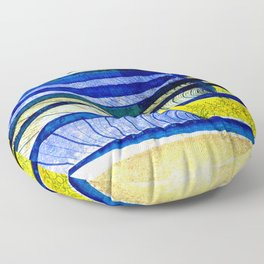 WAY OF THE OCEAN - Yellow & Blue Waves Floor Pillow