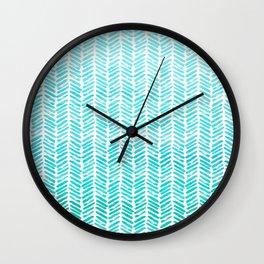 Handpainted Chevron pattern-small-light green and aqua teal Wall Clock