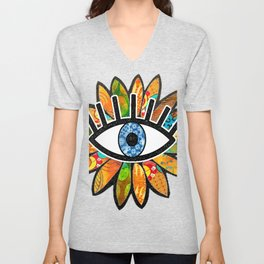 Greek Evil Eye Green Flower Unisex V-Neck