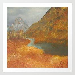 Glen Etive, wildness, landscape, oil painting by Luna Smith aka Lu Art Print