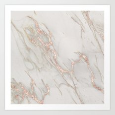 Marble Rose Gold Blush Pink Metallic by Nature Magick Art Print