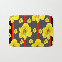 YELLOW AMARYLLIS BLACK-RED DECO ART Bath Mat