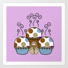 Cute Monster With Blue And Brown Polkadot Cupcakes Art Print