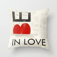 onesie Throw Pillows featuring BE IN LOVE by Lulla