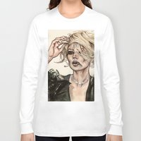kate moss Long Sleeve T-shirts featuring Kate Moss by fridayshooow