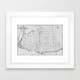 Vintage Map of Williamsburg Brooklyn (1827) Framed Art Print