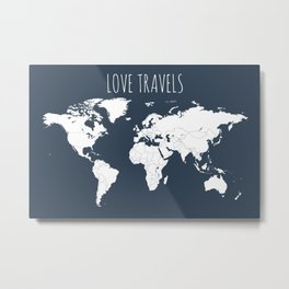 Love Travels World Map in Navy Blue Metal Print