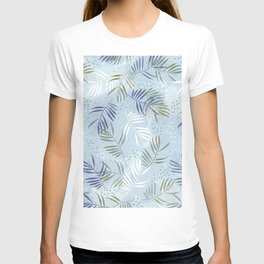 Pretty tropical Palm leaf pattern illustration - blue, kaki #tropicalart T-shirt