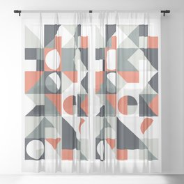 Mid Century Geometric 04 Sheer Curtain