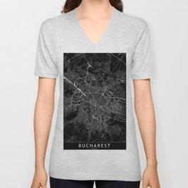 Bucharest Black Map Unisex V-Neck