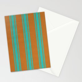 Turquoise lines on a orange background Stationery Cards