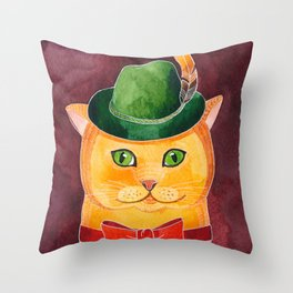 Ginger Cat In The Hat Throw Pillow