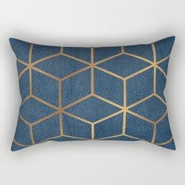 Dark Blue and Gold - Geometric Textured Cube Design Rectangular Pillow