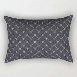 Gray Skulls on Dark Background Pattern Rectangular Pillow