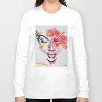 hibiscus Long Sleeve T-shirts featuring Hibiscus by Maria Lozano - Art