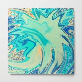 Ocean Blue Abstract Metal Print