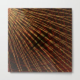 Many rays of red light with symmetrical bright waves on black. Metal Print