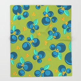 Blueberries | Green Throw Blanket