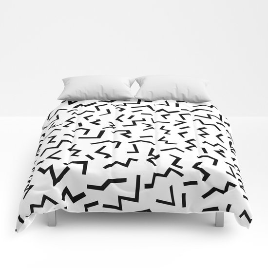 Maxie - black and white minimal modern abstract squiggle stripe dot lines geometric pattern urban  Comforters
