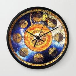 Golden Sun Wall Clock