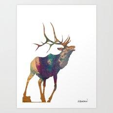 Elk Silhouette Art Print