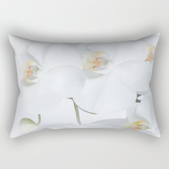 White orchids flowers pure white romantic Rectangular Pillow