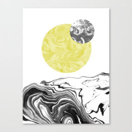 Tomo - spilled ink abstract space sun moon earth swirl marble painting dorm college trendy art Canvas Print