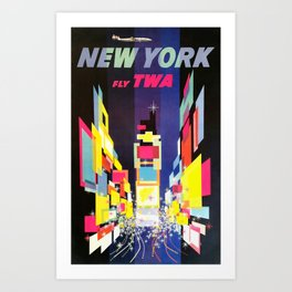 TWA New York, Times Square - Vintage Travel Poster Art Print