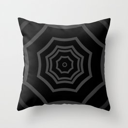 Black and Grey Striped Mandala Star Throw Pillow