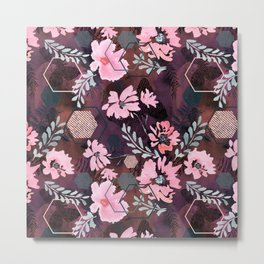 Pink flowers on an abstract cherry background. Metal Print