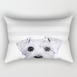 Schnauzer original Dog original painting print Rectangular Pillow