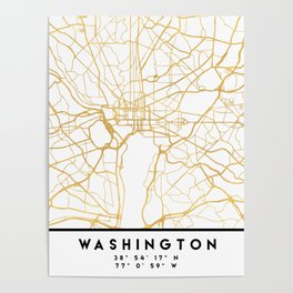 WASHINGTON D.C. DISTRICT OF COLUMBIA CITY STREET MAP ART Poster