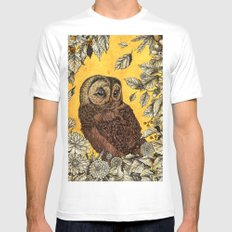 Tawny Owl Yellow Mens Fitted Tee X-LARGE White