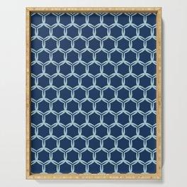 Indigo blue abstract organic cut dotty circles. Serving Tray