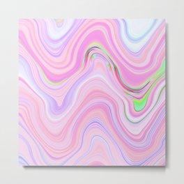 Pastel Pink & Violet Lava Marble Metal Print