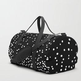 Floating Dots - White on Black Duffle Bag