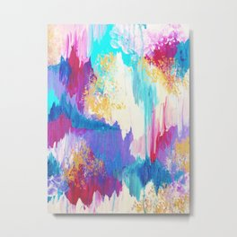 SWEET DREAMS - Lovely Bright Soft Pastel Modern Abstract Fun Nursery Ombre Design Acrylic Painting Metal Print