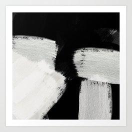 brush stroke black white painted Art Print