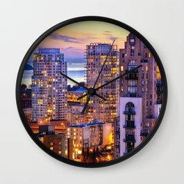 Yaletown Voyeuristic 0361 Vancouver Cityscape View English Bay British Columbia Canada Sunset Travel Wall Clock
