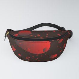 Large red drops and petals on a dark background in nacre. Fanny Pack