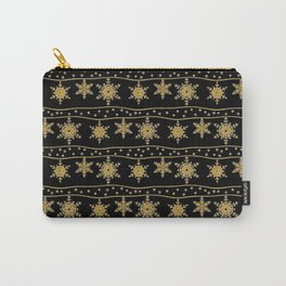 Gold snowflakes on a black background. Carry-All Pouch