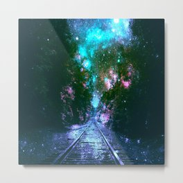 train tracks Next Stop Anywhere bright Metal Print