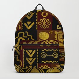 Ethnic African Golden Pattern on black and brown Backpack