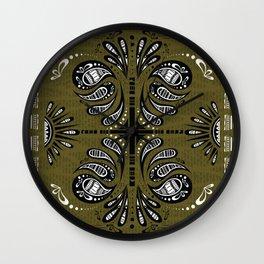 Tribal Paisley Black Green White Wall Clock
