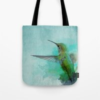 hummingbird Tote Bags featuring Hummingbird by Marvelis