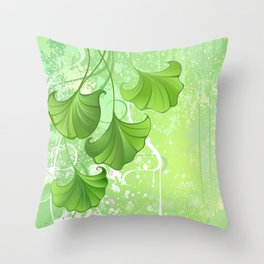 Background with spring green leaves Throw Pillow