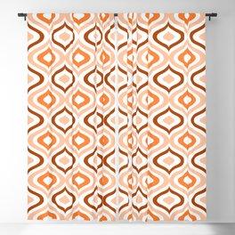 Hip Pastel Salmon Orange Brown White Ogee Waves Art Blackout Curtain