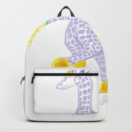 Birthdays are Coming - Midas is Ready - Christmas Lavender Giraffe Backpack