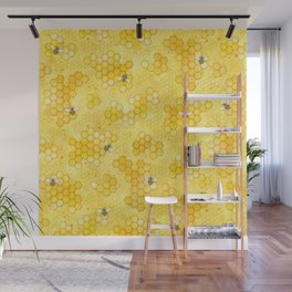 Meant to Bee - Honey Bees Pattern Wall Mural